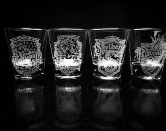 Harry Potter House Crest Shot Glasses - Set of 4- Gryffindor- Hufflepuff- Ravenclaw- Slytherin- House Logo