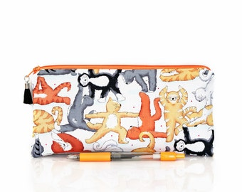Cat pencil case, Cats Makeup bag, Zipper pouch, Gymnastic cats, School supplies, Kids pen bag, Cosmetic case, Back to school, Teacher gift