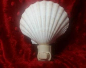 Seashell Night Light, Night Light, Handmade Night Light, Shell Night Light, Baking Clam Night Light, Clam Night Light, Coastal Wedding Favor