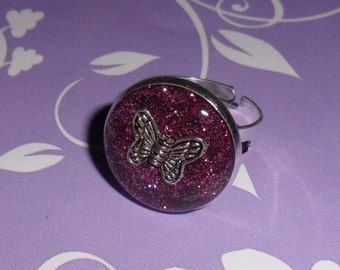 Pink butterfly adjustable ring