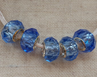 sky blue beads x 5 crystal beads blue glass beads lampwork beads