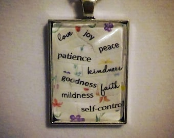 Fruitage of the Spirit Floral Print Pendant and Chain