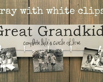 Great Grand kids wood sign photo holder great grandparent gift
