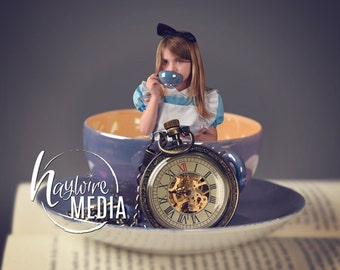 Baby Toddler Child Alice in Wonderland Teacup Princess Studio Digital Backdrop - Photography Background with PNG Coverup Layer