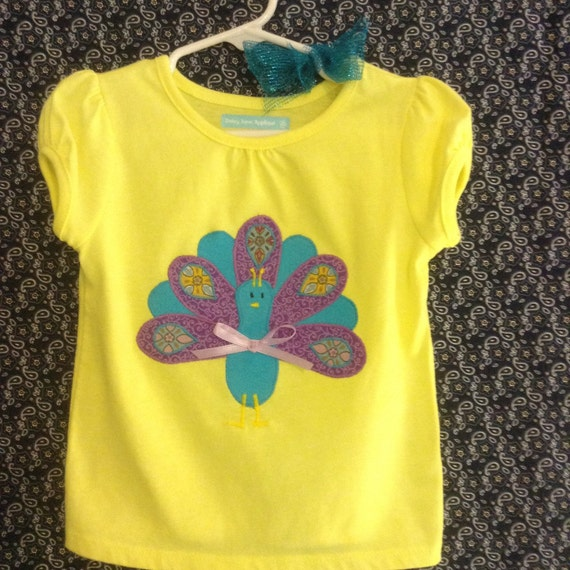 Toddler girl's Precious Peacock short sleeve appliqué top