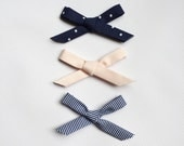 Pick 3 bows /  NAVY Collection / Headband / Clip / Infant / Toddler / Kid / Hairbows / Fabric Bows / Bias Tape Bows