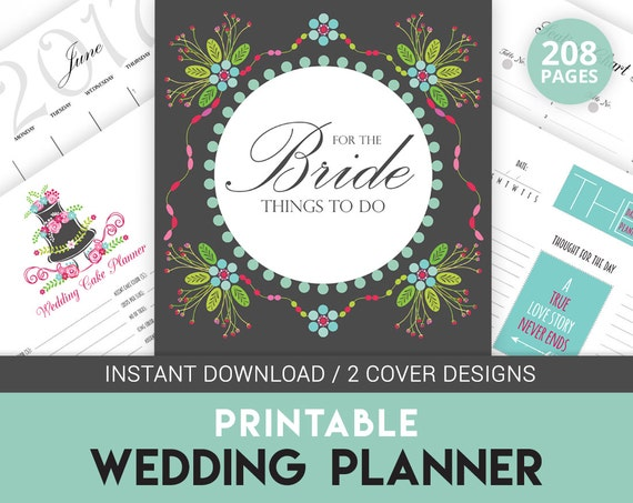 Printable Wedding Planner Binder Planning A Rustic: Digital Wedding Planner Book Printable Wedding Organizer