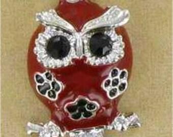 Owl Earrings, Silver Owl Earrings, Red Owl Earrings, Red & Silver, Owl Charm, Owl Dangle Earrings, Red Owl