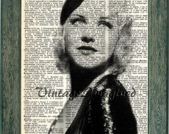 Ginger Rogers print art on 8x10 upcycled dictionary page 8x10