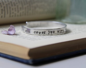 Hand Stamped Bible Verse Cuff Bangle 'He Will Cover You With His Feathers'
