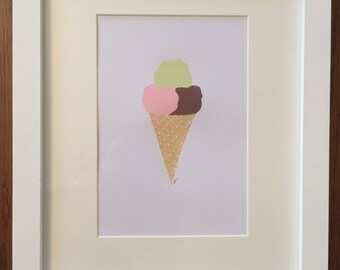 Ice Cream Linocut Print