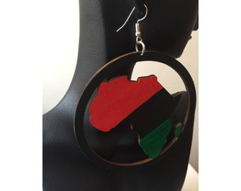 Wooden Earrings - Multi-Colored Africa