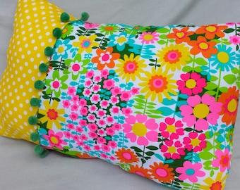 Floral Summer Pillow,Pom Poms,Bright Colors Pillow,Yellow Pillow,Pink Pillow,Oblong Pillow,Flowers,Polka Dots Pillow,Orange,