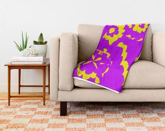 Purple Yellow Abstract Soft Cozy 100% Polyester and Sherpa Fleece Throw Blanket