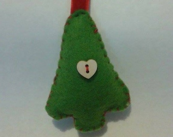 Hand sewn felt tree decoration