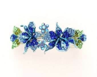 Rhinestone Barrette Crystal Blue Orchid Hair Clip Aqua Royal Blue Bridal Hair Jewelry Accessory Destination Beach Wedding Bridal Barrettes
