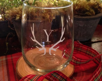 Personalized Stemless Wine Glass With Antlers and Monogram