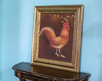 Vintage Shimmery Rooster Painting