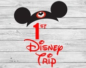First Disney trip Iron On T-shirt Transfer Printable - 1st Personalized shirt - Kids Family Vacation couple matching shirts Mickey