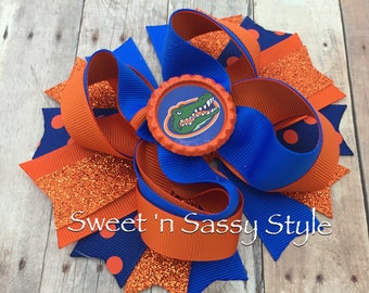 """Florida Gators Inspired 5"""" Stacked Boutique Hair Bow Headband Clip Barrette"""