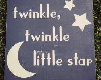 Twinkle Twinkle Little Star Sign - Rustic Nursery Decor - Baby Decor - Twinkle Sign - Lullaby Sign