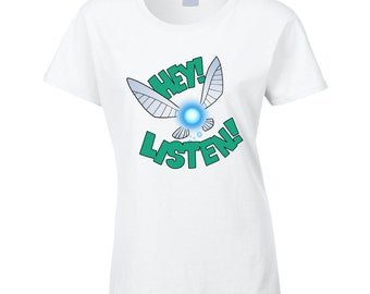 Legend Of Zelda: Ocarina Of Time - Navi Hey! Listen! Ladies White T-shirt