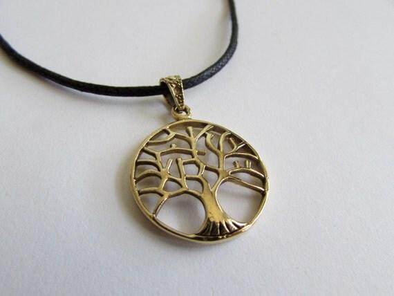 Tree of Life Circle Pendant On Cord Adjustable Necklace Spiritual jewellery Yogi Jewellery  Handmade Free UK delivery