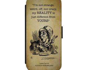 Alice in Wonderland iPhone Samsung Leather Wallet Flip Case Cover Mad Hatter Reality