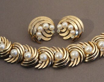 Crown Trifari Bracelet and Earrings, Gold Tone with Faux Pearls and Rhinestones