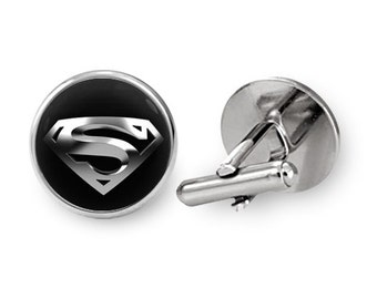 Superman Cufflinks Super Hero Cufflinks Movie Groomsmen Cuff links (with jewelry box)