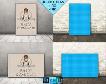 8x12 #F06 Portrait & Landscape Stretched Canvas on Wooden Floors, 4 Canvas Display Mockups,  PNG PSD PSE, Custom colors, 16x24 24x36