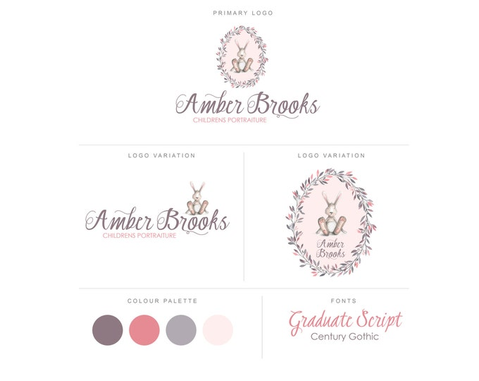 Branding Package - Photography Logo and Watermark - Bunny Wreath - Font Script - Logo Design - Watermark - Premade Marketing Kit - BPL08