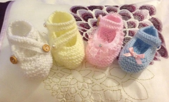 Baby Knitting set of 3 Mary Janes sizes doll up to 6mths approx