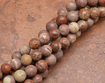 """8 mm round Natural Rainbow Jasper beads 15"""" strand (#J1069)"""