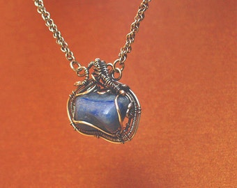 Silver Necklace handmade woven silver pendant and sodalite stone - handmade sterling siver chain Viking style