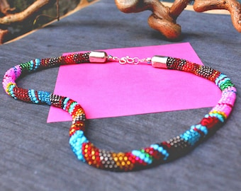 Bead Necklace - Woven beads - Peyote stitch- Handmade necklace - Potato Head Blues