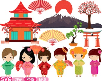 Kokeshi Japanese Dolls Cutting Files SVG CHINA Japanese Silhouette travel ClipArt Clip Art Graphics Personal Commercial Use -224S