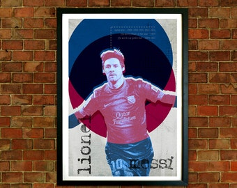 Lionel Messi Framed Print, FC Barcelona Poster, Football art, Mid Century, Modernist Typography Print, Childrens Bedroom Art, Man Cave Art