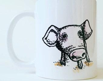 Gorgeous hand painted drinks Mug - cute piglet