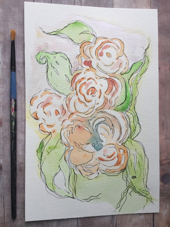 Original Watercolor and Ink painting,  Watercolor Flower Painting