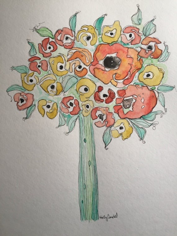Original Watercolor and Ink Painting, Flower Bouquet Painting, Watercolor Flower Painting, Art