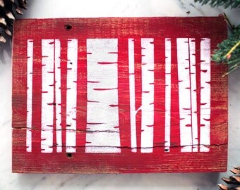 Painted Christmas Sign - Birch Trees