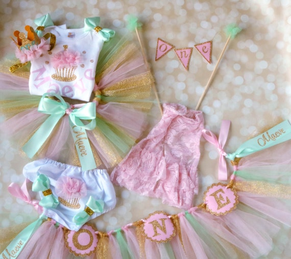 First birthday girl package pink gold mint for 1st birthday decoration packages