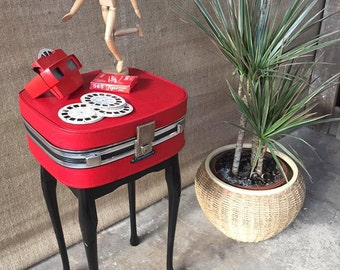 Vintage, Retro, Mid-Century, 1960's, British-made, Red, Suitcase Table, Bedside/Telephone/Side table