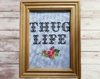 Funny Cross Stitch Picture, Cross Stitch Picture, Home Decor, Thug Life, Modern Cross Stitch