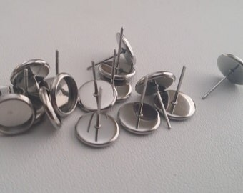 Stainless steel 8mm tray cabochon earring setting 8pcs