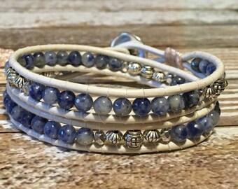 Sodalite Bracelet / Boho Double Wrap Bracelet / Chan Luu Style Wrap Bracelet / Healing Crystal Bracelet