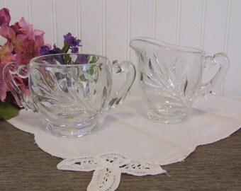 Creamer & Sugar Bowl Set, Vintage, Cut Glass Leaf Pattern Creamer and Sugar Bowl