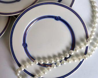 Vintage Christofle China Rubanea Bleu Blue Plate, Christofle Rubanea Bleu, Christofle Dinnerware, Blue White China, Vintage Plate micro safe