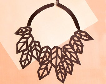 AUTUMN - Modern eco-leather necklace || 100% Handmade ||